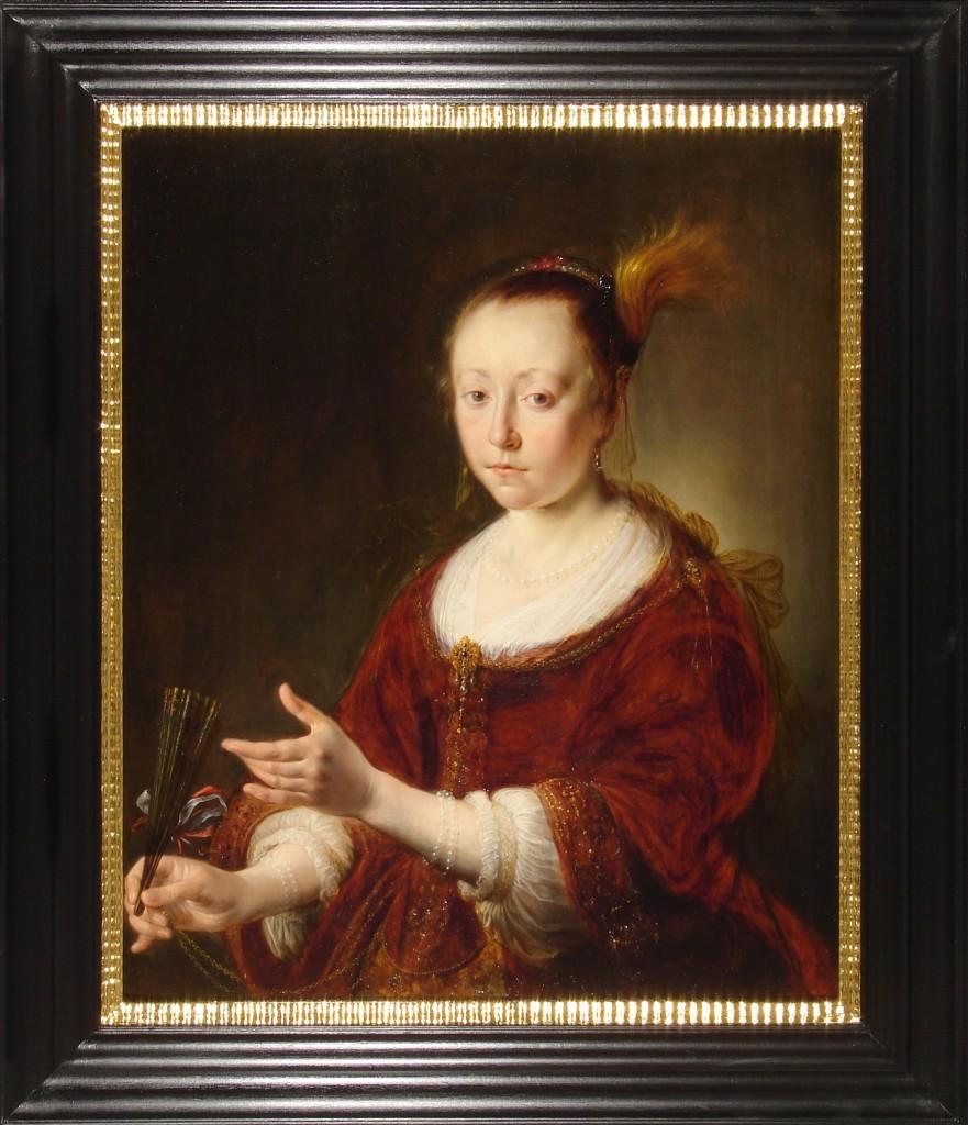 1Gijsbert Sibilla, Dama z wachlarzem, 1650, deska, olej, 73 x 60 cm.