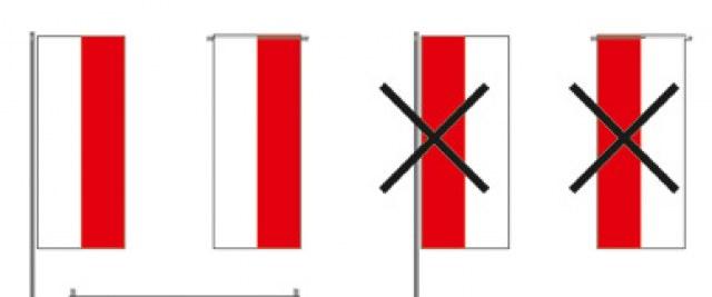 Informacja o prawidłowym wieszaniu flagi państwowej
