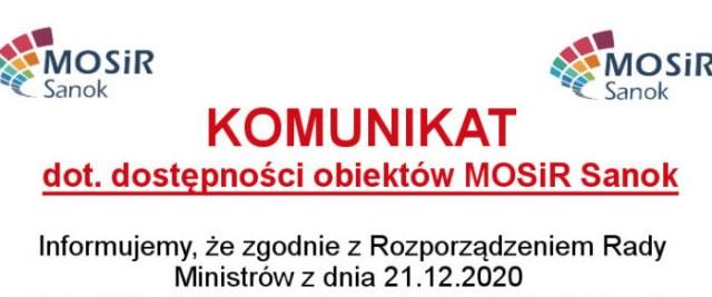 Komunikat o dostępności obiektów MOSiR Sanok